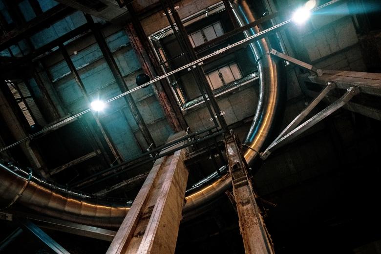 bottom view on steel slide post industrial design