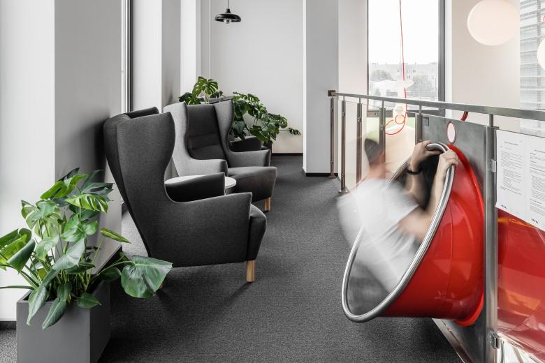 steel slide office interior